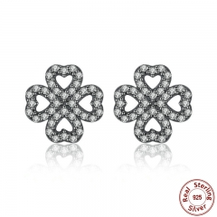 Sparkling 925 Sterling Silver Petals of Love, Clear CZ Stud Earrings for Women High Quality Fine Jewelry PAS435 EARR-0040