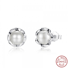 925 Sterling Silver Cultured Elegance Stud Earrings With White Fresh Water Cultured Pearl Sterling Silver Jewelry PAS420 EARR-0015