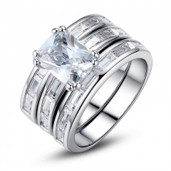 Silver Color Bridal Set Finger Ring for Ladies Women with Paved Micro Cubic Zircon Crystal Jewelry Wedding YIR030
