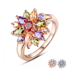 3 Colors Rose Gold Color Finger Ring for Women with AAA Multicolor Cubic Zircon Wedding Berloque #6 7 8 9 JIR031