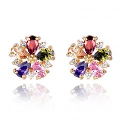 Gold Color Multicolor Flower Stud Earrings with Colorful Zircon For Girlfriend Gift Luxury Bijouterie JIE028