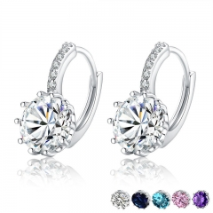 Trendy Genuine Silver Color Round Hoop Earrings with AAA Zircon For Women Jewelry Gift YIE083