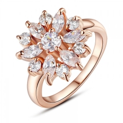 Rose Gold Color Finger Ring for Women with AAA Cubic Zircon Engagement Jewelry JIR029