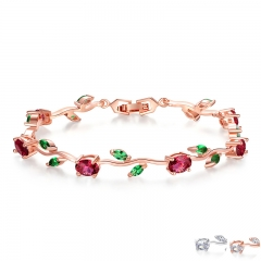 Rose Gold Color Leaf Chain & Link Bracelet with Red + Green AAA Zircon for Mother Gifts Jewelry JIB072