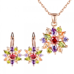 Luxury Gold Color Flower Jewelry Sets For Women Wedding with Colorful AAA Cubic Zircon JIE014-JIN024 FASH-0031