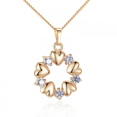 Luxury Gold Color Heart Necklaces & Pendants with AAA Zircon For Women Anniversary Jewelry JIN018 FASH-0020