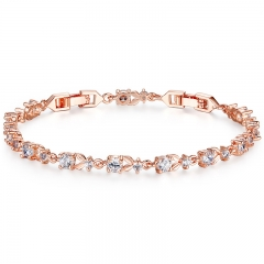 6 Colors Luxury Rose Gold Color Chain Link Bracelet for Women Ladies Shining AAA Cubic Zircon Crystal Jewelry JIB013