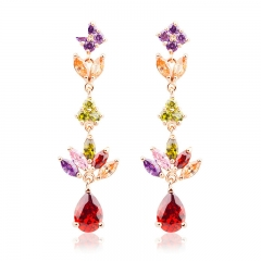 Gold Color Gold Unique Dangle Earrings with Multicolor AAA Zircon Stone Engagement Jewelry JIE021