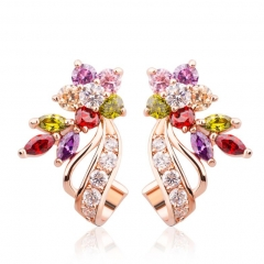 Gold Color Flower Oversized Big Stud Earrings with Multicolor AAA Zircon Stone Birthday Gift Jewelry JIE019