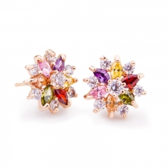 Gold Color Gold Star Stud Earrings with Multicolor Zircon Stone For Women Birthday Gift Jewelry JIE018