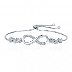 Hot Sale Popular Silver Color Endless Love Infinity Bracelet Lace up Tennis Bracelets for Women Fashion Jewelry YIB037