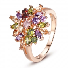 New Arrival Rose Gold Color Flower Finger Ring for Female with AAA Multicolor Cubic Zircon Wedding Jewelry JIR016