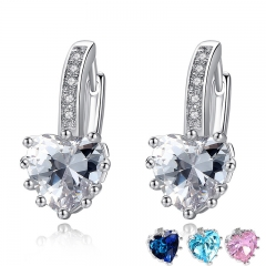 2018 HOT SELL Silver Color 4 Color Stones Heart Shape Trendy & Elegant AAA Zircon Stud Earring for Party n Gift YIE095