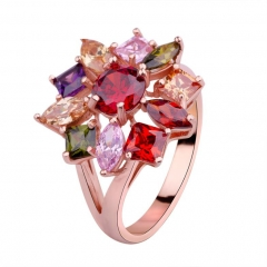 Rose Gold Color Flower Finger Rings with Multicolor Zircon for Women Wedding High Quality Jewelry JIR003