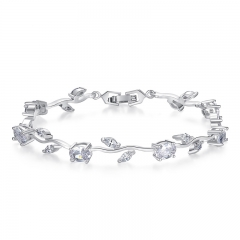 Real White Gold Color Leaf Chain & Link Bracelet with Clear Rhinestone for Mother's Day Gifts Jewelry JIB071