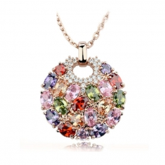 Multicolor Crystal Round Necklaces & Pendants for Women Gold Color Swiss CZ Zircon Women Clothing Accessories JIN004 FASH-0005