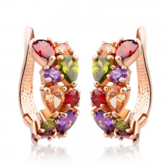 Gold Color Unique Stud Earrings with Multicolor AAA Zircon Stone Nickel, Cadmium free Jewelry JIE020