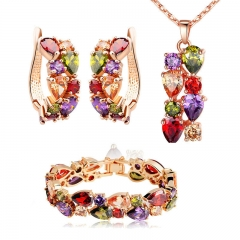 Luxury Gold Color Mona Lisa Jewelry Sets with Multicolor AAA Cubic Zircon for Women Wedding Bridal Jewelry Sets ZH036