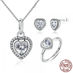 925 Sterling Silver Jewelry Set Sparkling Love Heart Jewelry Sets Wedding Engagement Jewelry Mother's Day Gift -ZHS009 SET-0012