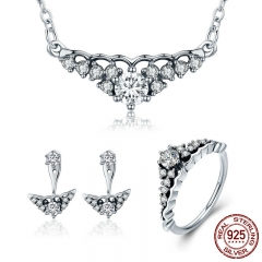 100% 925 Sterling Silver Fairytale Tiara Princess Crown Earrings Necklace Jewelry Set Sterling Silver Jewelry Gift ZHS051 SET-0034