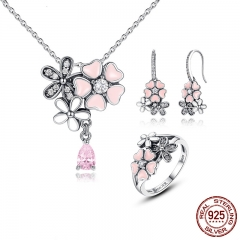 100% 925 Sterling Silver Pink Flower Poetic Daisy Cherry Blossom Bridal Jewelry Sets Wedding Engagement Jewelry ZHS028 SET-0015