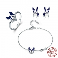100% Genuine 925 Sterling Silver French Bulldog Doggy Ring & Bracelet & Earrings Jewelry Set Silver Jewelry Gift ZHS054 SET-0050