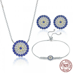 Authentic 925 Sterling Silver Round Blue Eyes Clear CZ Tennis Bracelets Necklaces Earrings Women Bridal Jewelry Sets SET-0017