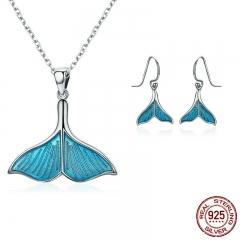 925 Sterling Silver Jewelry Set Ocean Sea Whale's Tail Mermaid Bridal Jewelry Sets for Women Sterling Silver Jewelry Gift SET-0018