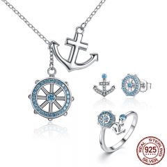 Authentic 925 Sterling Silver Blue Anchor & Rudder Pendants & Necklaces Jewelry Sets Sterling Silver Jewelry -ZHS035 SET-0009