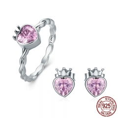Authentic 925 Sterling Silver Jewelry Set Crown of Heart Sparkling Pink CZ Jewelry Sets Sterling Silver Jewelry Gift SET-0025