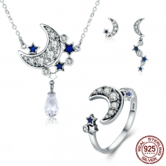 Genuine 925 Sterling Silver Jewelry Set Moon & Star Dazzling CZ Bridal Jewelry Sets Sterling Silver Jewelry ZHS040 SET-0020