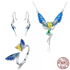 100% Real 925 Sterling Silver Forest Fairy Colorful Crystal CZ Women Jewelry Set Sterling Silver Jewelry Gift SCE378 SET-0045