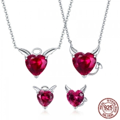 Authentic 925 Sterling Silver Red CZ Evil And Angel Pendant Necklace Earrings Jewelry Set Sterling Silver Jewelry ZH067 SET-0052