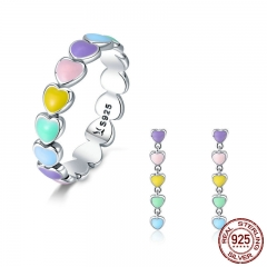 Authentic 925 Sterling Silver Jewelry Set Rainbow Heart to Heart Rings & Earrings Jewelry Sets Sterling Silver Jewelry SCR444 TAO-0057