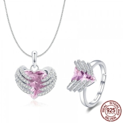 Elegant 925 Sterling Silver Guardian Heart Angel Wings Pendant Necklace & Rings Jewelry Sets Authentic Silver Jewelry Set TAO-0060