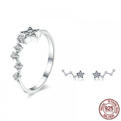 Authentic 925 Sterling Silver Sparkling Star Clear CZ Rings Earrings for Women Jewelry Set Sterling Silver Jewelry Gift TAO-0065
