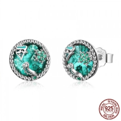 Auténtica Plata 925 Ocean Peces Tropicales Aretes Para Mujer Verde Cz Sterling Silver Jewelry Gift Sce496